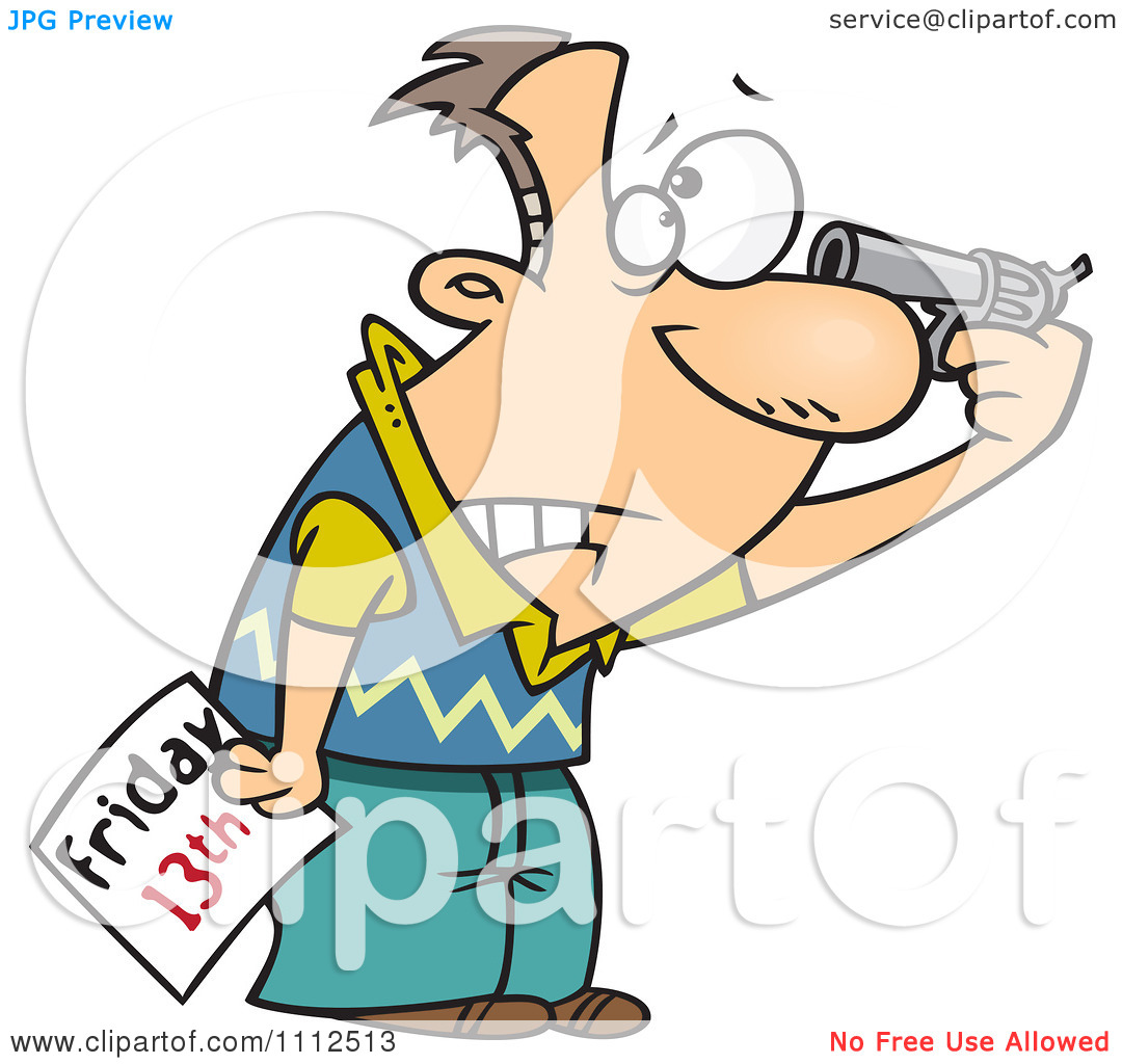 Clipart Superstitious Man Holding A Gun To His Head On Friday The.