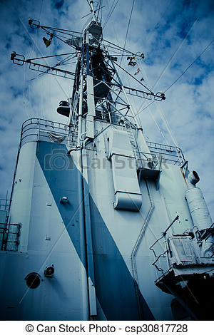 Stock Photo of Conning tower superstructure of a military navy.