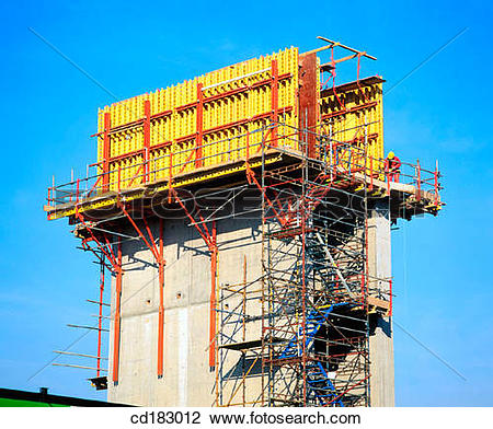 Stock Photo of Concrete superstructure of retail shopping complex.