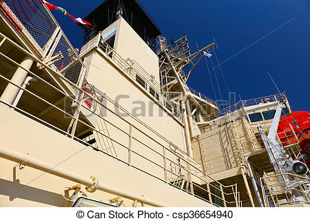 Stock Photo of fragment of the deck superstructures with flue pipe.