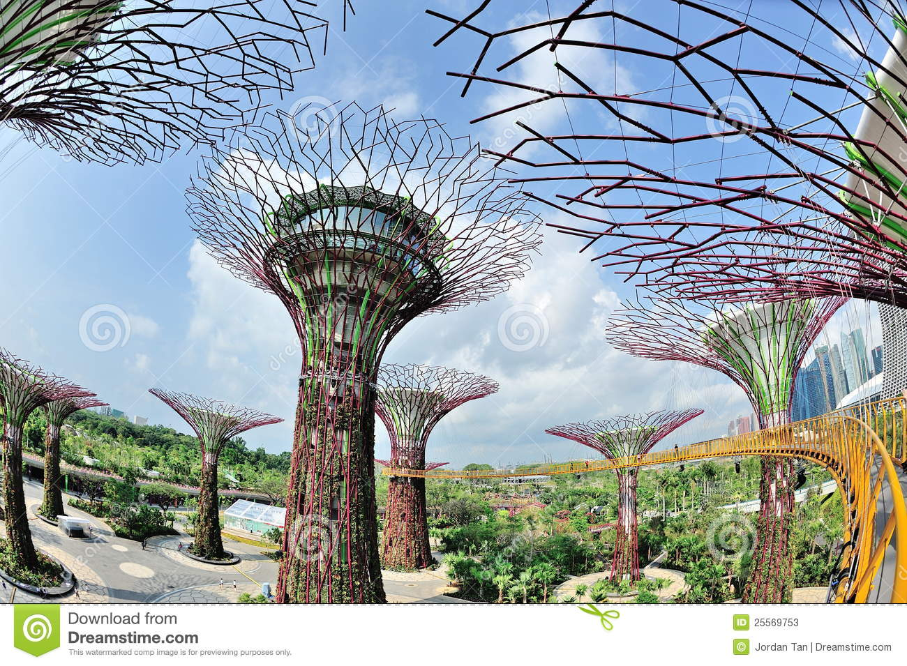 OCBC Skyway And Super Trees At Gardens By The Bay Stock Photos.
