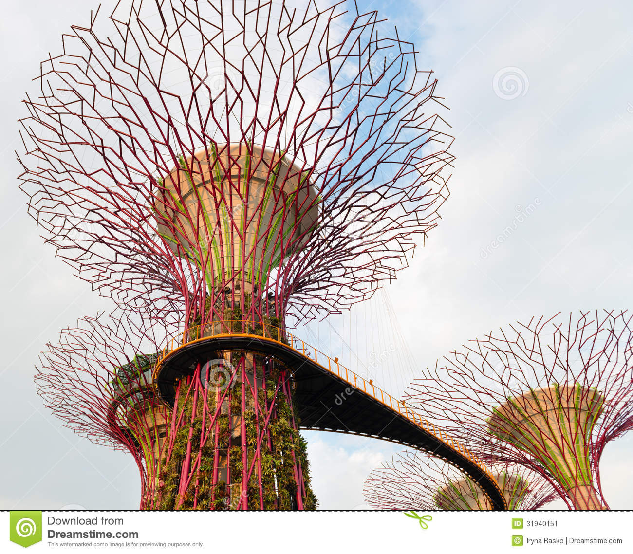 Walking Bridge On Super Trees In Gardens By The Bay Singapore.