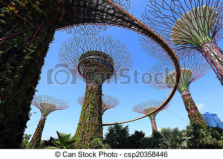 Stock Photo of The Supertrees Grove at Gardens by the Bay.
