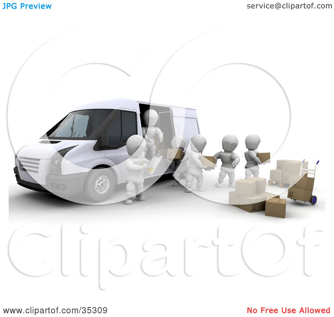 Clipart Illustration of 3d White Characters Working Together While.
