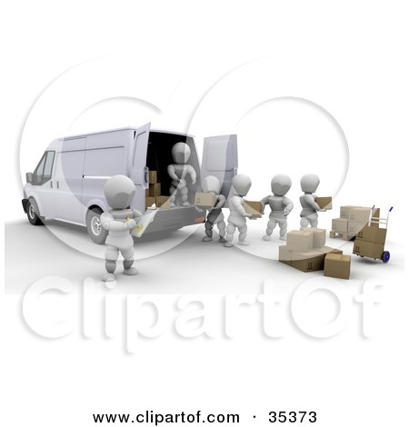 Clipart Illustration of 3d White Characters Being Supervised While.