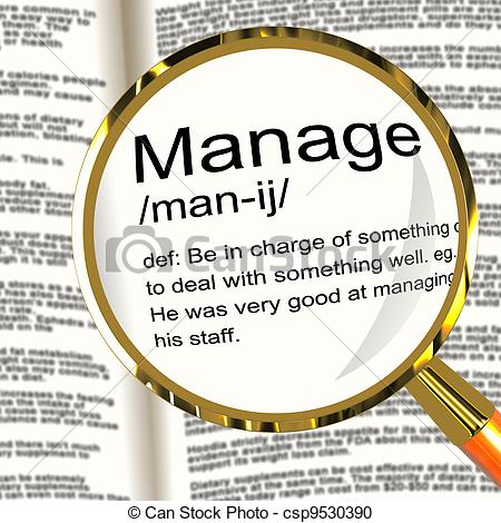 Manage Definition Magnifier Shows Leadership Management Stock.