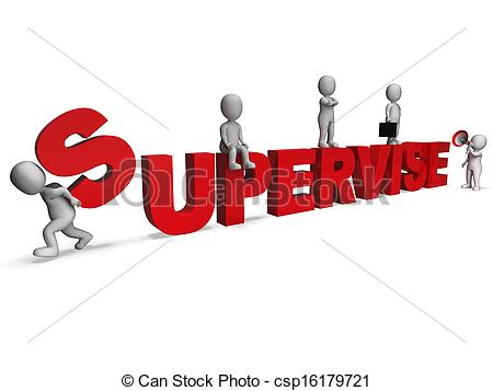 Clip Art of Supervise Characters Showing Management Supervising.
