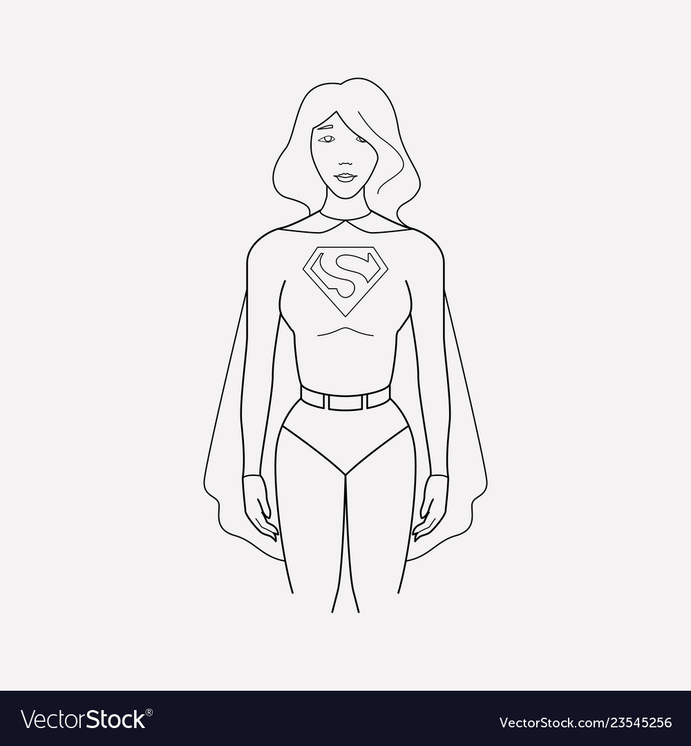Superwoman icon line element.