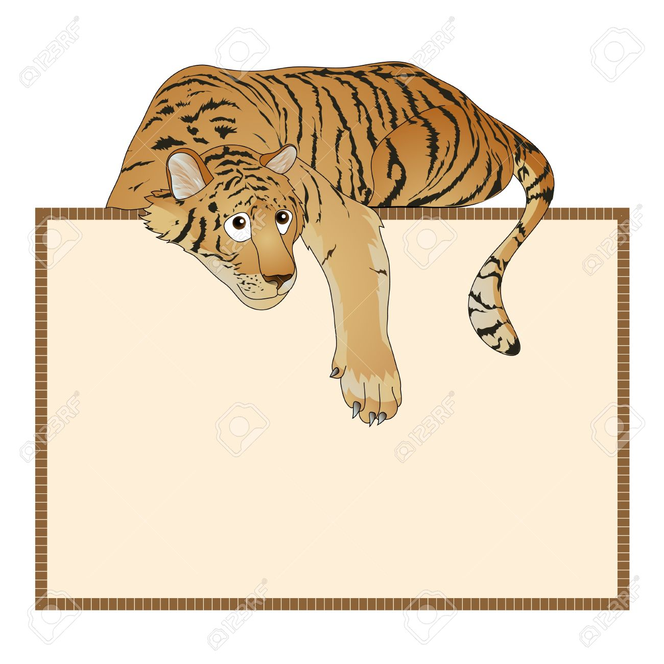 Red Striped Tiger In A Supine Position. Vector Illustration.