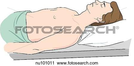 Clipart of Adult male in supine position shown from waist up with.