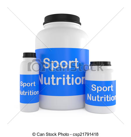 Clipart of Sport Nutrition Supplement containers isolated on white.