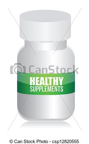 Clipart Vector of healthy medical supplement pills jar.