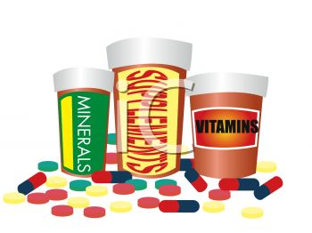 Royalty Free Clipart Image: Bottles of Vitamins, Minerals and.