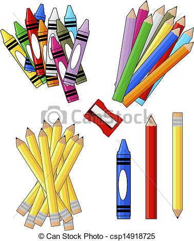 School supplies clipart graphics.
