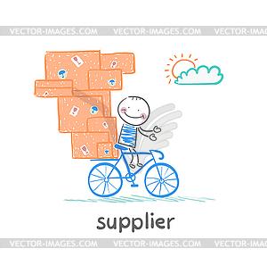 supplier rides bike with goods.