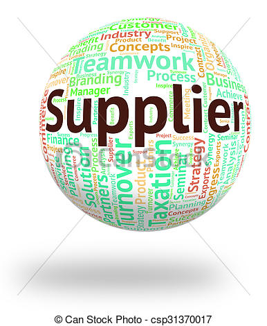 Clipart of Supplier Word Means Trader Distribute And Retailer.