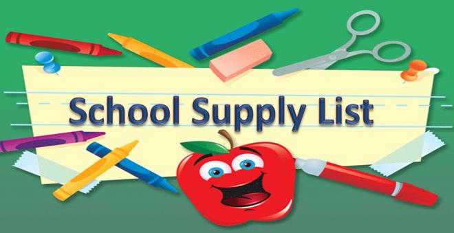 School Supply List Clipart.
