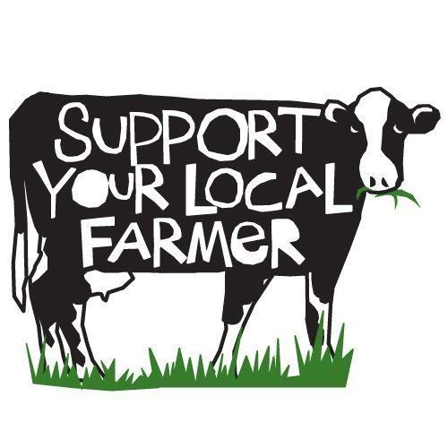 Bumper sticker Support your local farmer decal die cut cow.