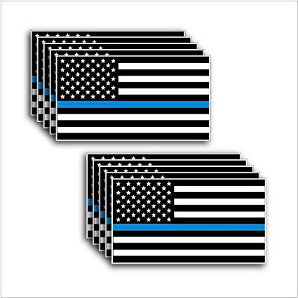 """10 pack of Thin Blue Line Stickers to Show Support for our Men and Women of  Law Enforcement Vinyl Decal 3M 2"""" x 3.5""""."""