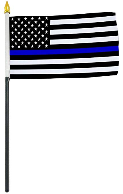 sparta consumers inc 4x6 Inch Blue Line American Police Flag Perfect for  displaying on Your Desk or Table or for Waving in a Parade.