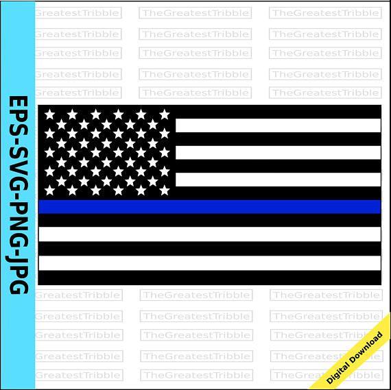 Thin Blue Line United States Flag eps svg png jpg Vector.