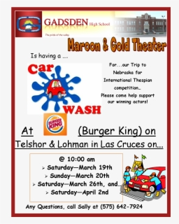 Free Car Wash School Fundraiser Clip Art with No Background.