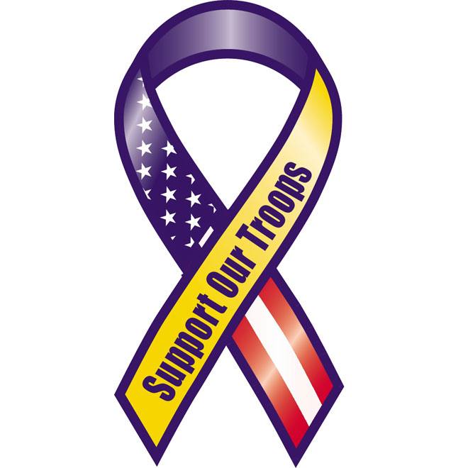 Support our troops vector ribbon.