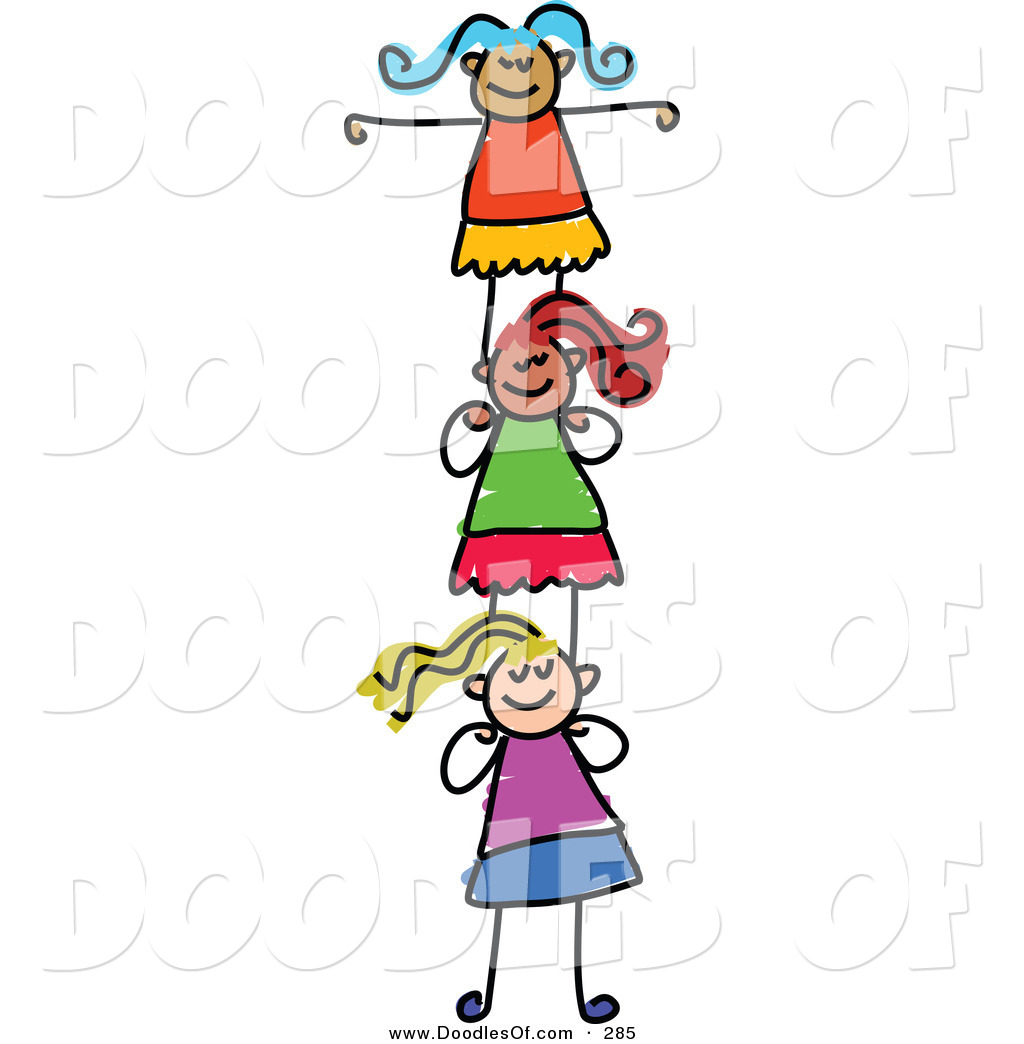 Vector Clipart of a Childs Sketch of Smiling Girls.