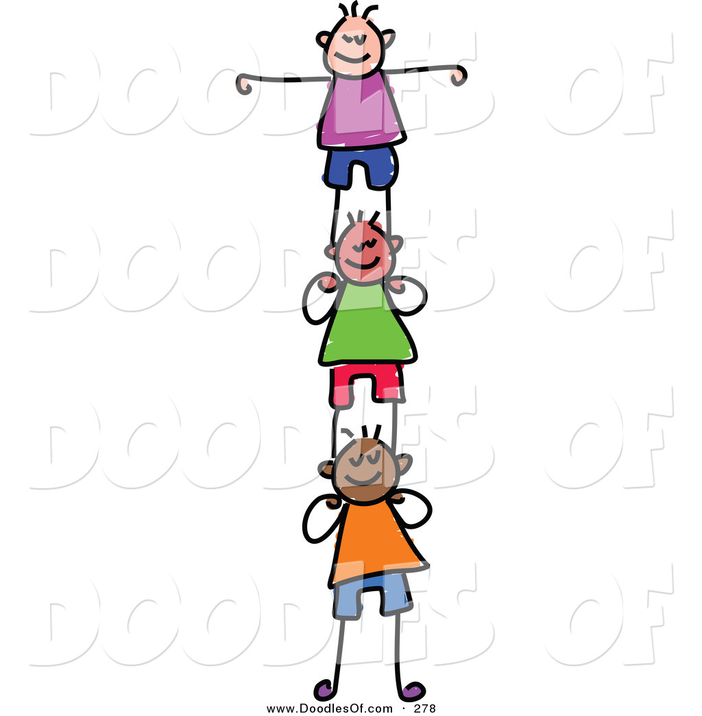 Vector Clipart of a Childs Sketch of Happy Girls Supporting.