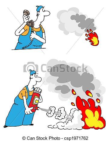 Clip Art of Fire suppression.
