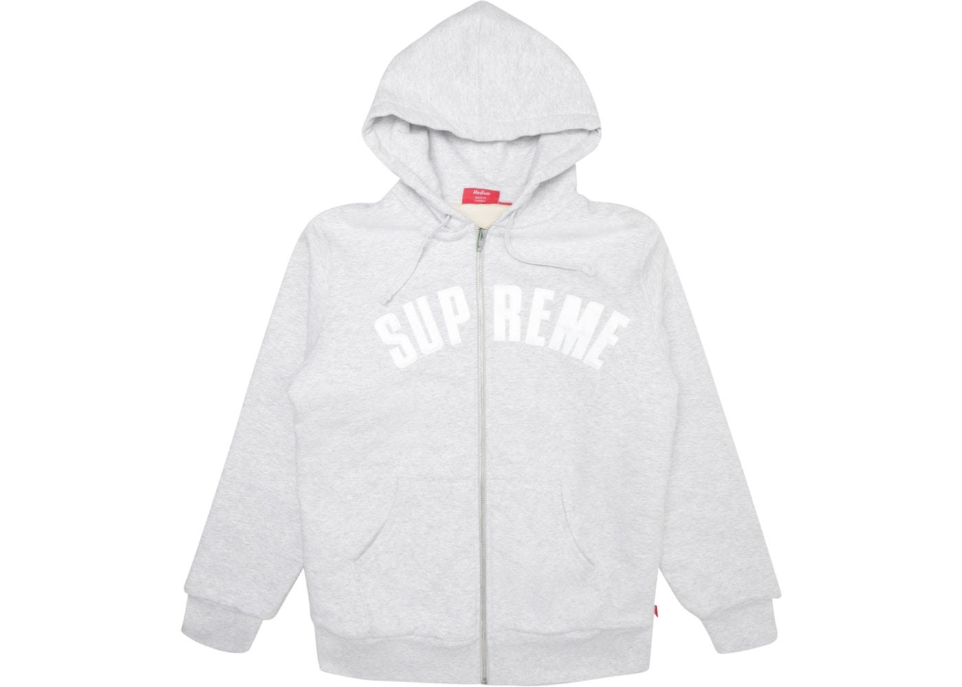 Supreme Arc Logo Thermal Zip Up Sweatshirt Ash Grey.
