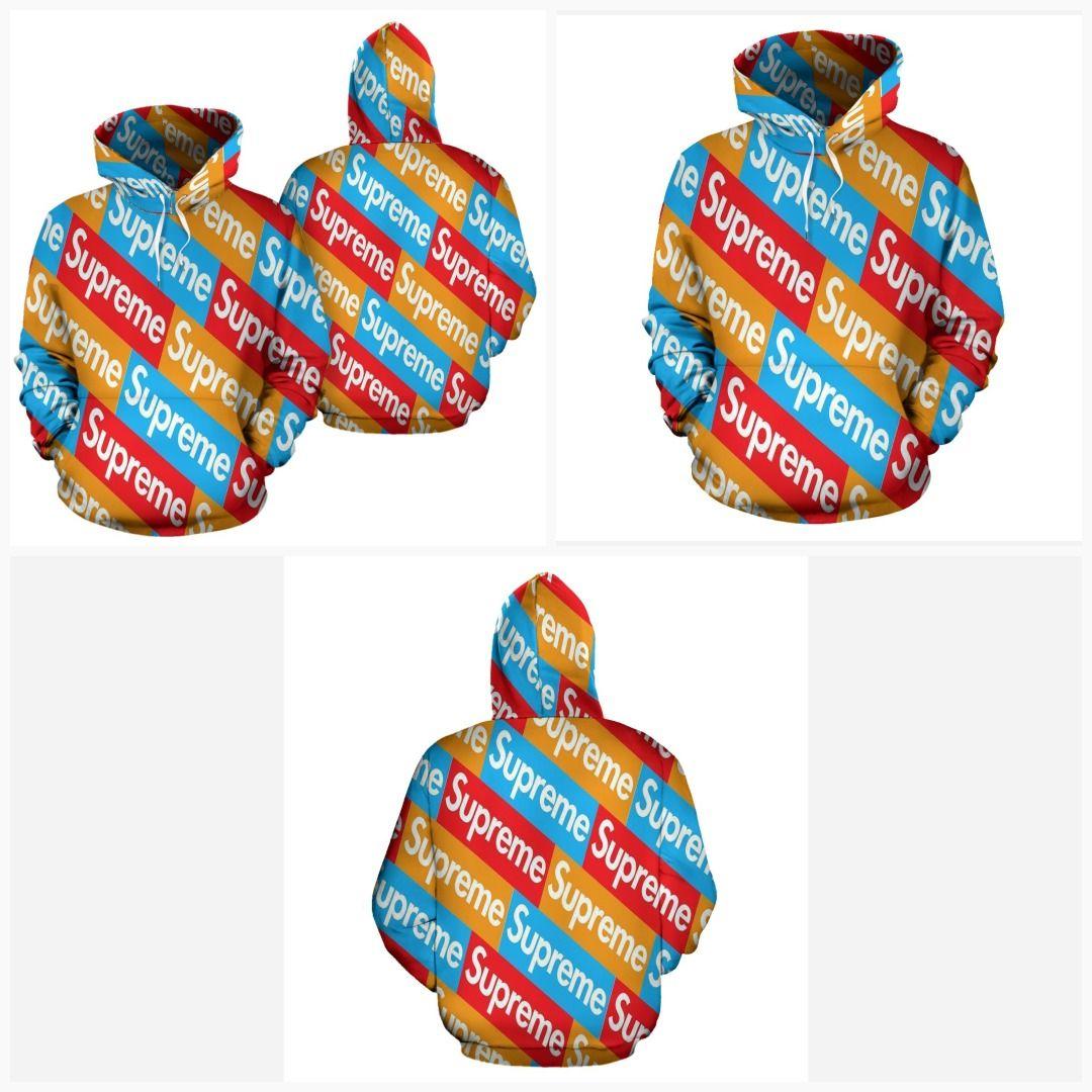 Multi Color Supreme Box Logo Print Pullover Hoodie in 2019.