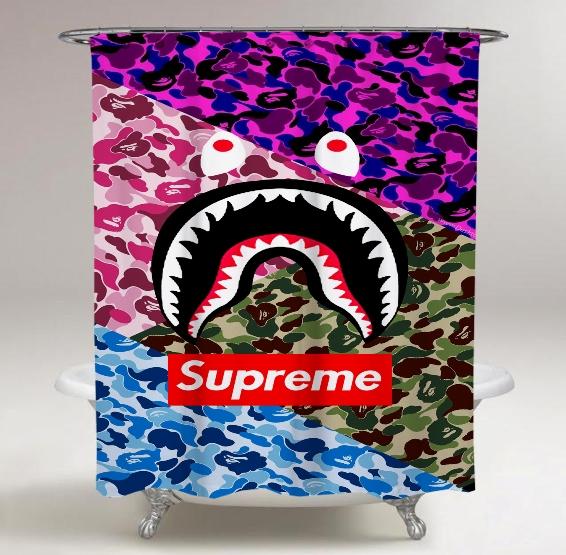 Top Famous Supreme Bape Logo Colorful Camo Print On Custom Shower Curtain.