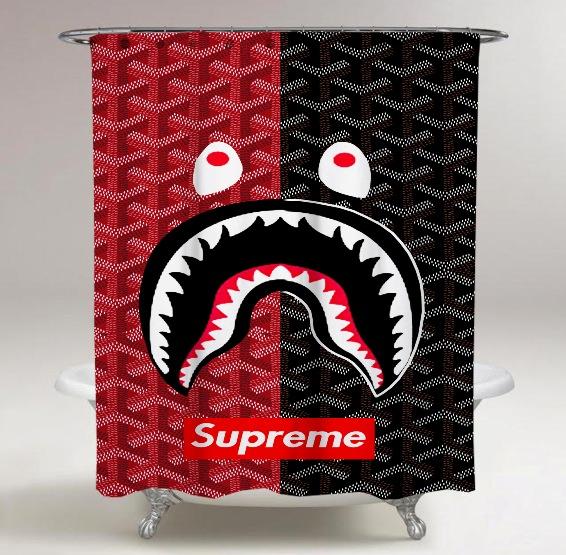 Supreme Bape Logo Print On Custom Shower Curtain Limited.