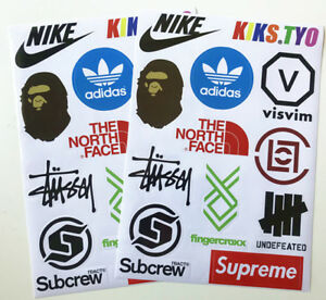 Details about Buy 1 get 1 Free Brands Supreme BAPE Sneaker Logo Skateboard  Laptop Stickers.