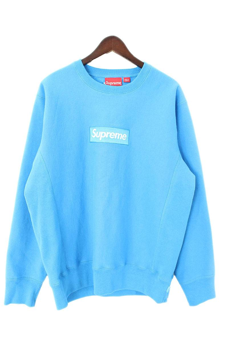 シュプリーム /SUPREME box logo crew neck sweat shirt (M/ blue) bb24#rinkan*S.