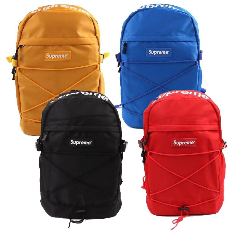 Supreme box logo backpack black red blue yellow.