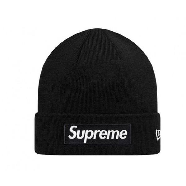 Supreme New Era Box Logo Beanie Hat (Black/White).