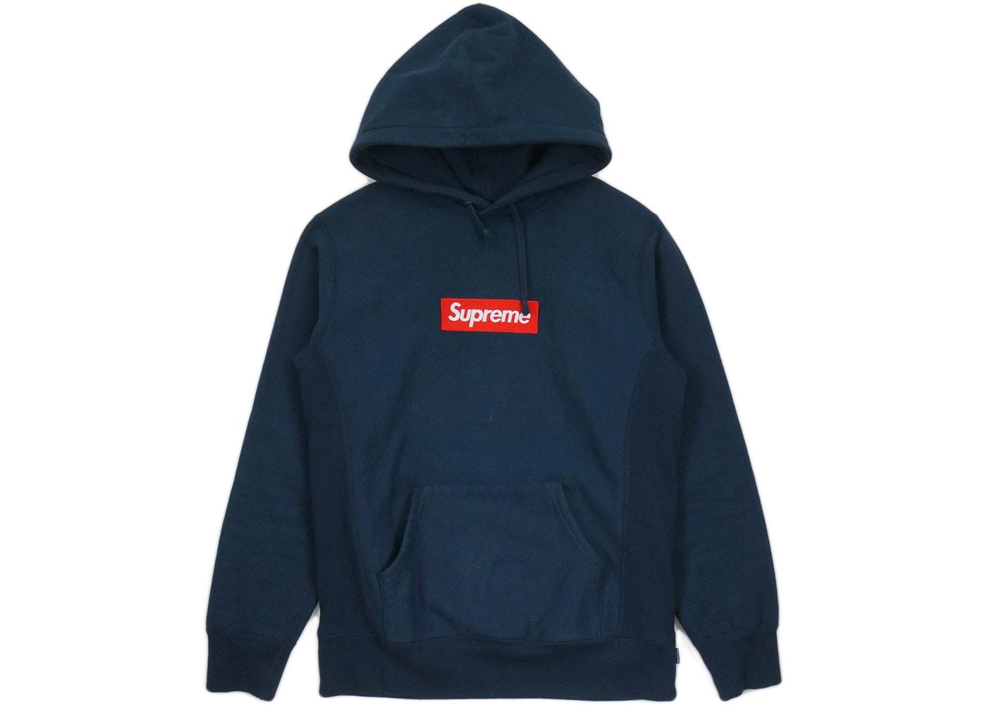 Supreme Box Logo Hooded Sweatshirt Navy.