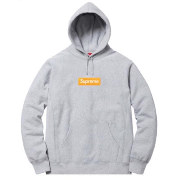 supreme Box Logo Hoodie grey and orange fw/17.
