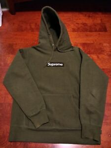 Details about Supreme Box Logo Hoodie Medium Army AUTHENTIC Pullover Olive  Green TNF CDG.