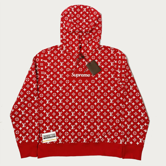 Louis Vuitton 1A3FBU Supreme Box Logo Hoodie, Size L.