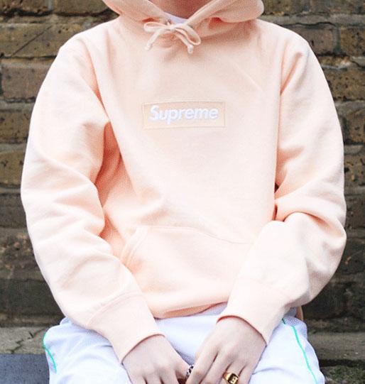 Peach Pink Box Logo Supreme Hoodie.