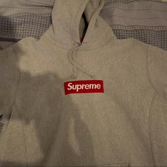 Grey supreme box logo hoodie.
