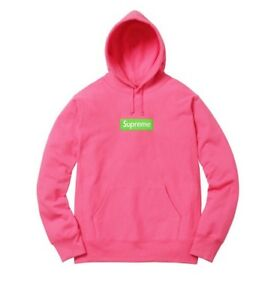 Details about Supreme Box Logo Hooded Sweatshirt FW17 Magenta XL.