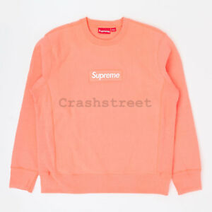Details about Supreme FW18 Box Logo Crewneck split hooded long sleeve  sweatshirt Coral peach.