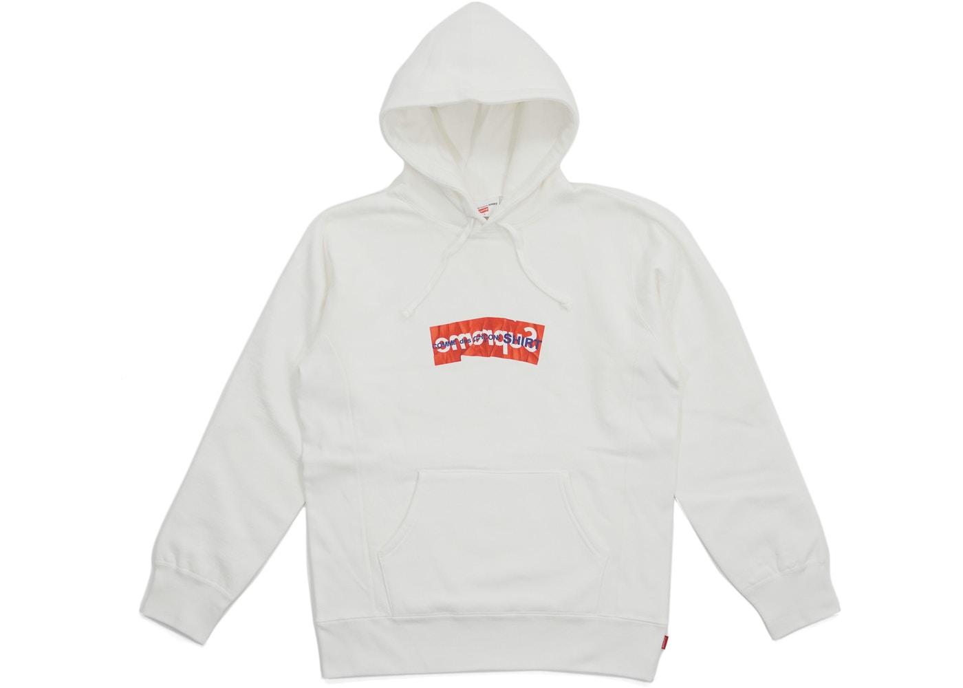Supreme Comme Des Garcons SHIRT Box Logo Hooded Sweatshirt White.