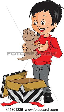 Clipart of Vector of surprised boy holding toy k15801835.