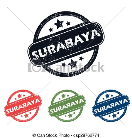 Vectors Illustration of Round Surabaya city stamp set.