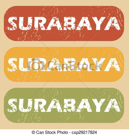Vector Illustration of Vintage Surabaya stamp set.